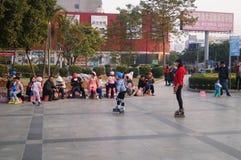 深圳,中国:室外滑冰 免版税库存图片
