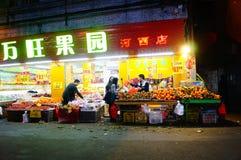 深圳,中国:街道夜风景 图库摄影