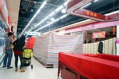 深圳,中国:除夕,及早被关闭的商店 免版税库存图片