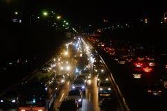 深圳,中国:107国民路的交通风景在晚上 免版税图库摄影