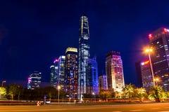 深圳,中国- 2018年7月16日:深圳都市都市风景新 免版税库存照片