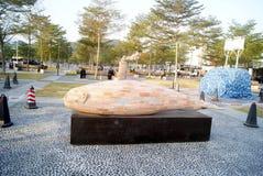 深圳,瓷:市中心广场雕塑风景 免版税库存照片