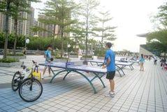 深圳,瓷:打乒乓球 库存图片