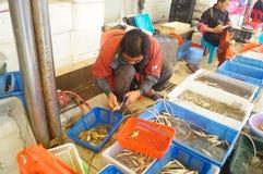 深圳,瓷:海鲜市场 免版税库存图片