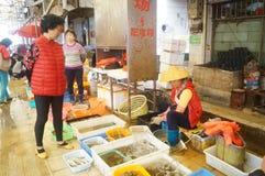 深圳,瓷:海鲜市场 免版税库存照片