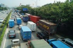 深圳,瓷:107国民公路交通风景 免版税库存照片