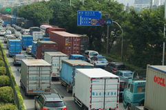 深圳,瓷:107国民公路交通风景 免版税库存图片