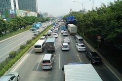 深圳,瓷:107国民公路交通风景 免版税图库摄影