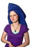 深度域重点浅软的毛巾妇女 免版税库存图片