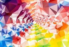 深彩虹多角形背景 三角 彩虹的颜色 免版税库存照片