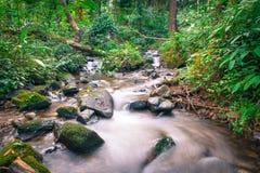 深木头和小河著名瀑布的siriphum瀑布一 免版税库存图片