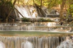 深森林小河瀑布 免版税库存图片