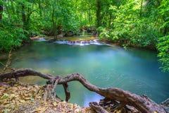 深森林瀑布在Krabi,泰国 免版税库存照片