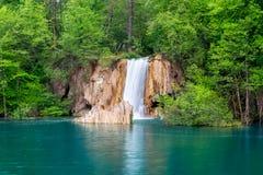 深森林瀑布用透明的水 库存图片