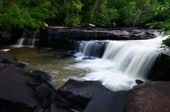 深森林瀑布 免版税库存图片