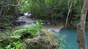 深森林kanchanaburi泰国瀑布 股票视频