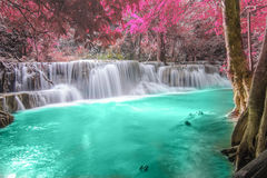 深森林kanchanaburi瀑布 图库摄影