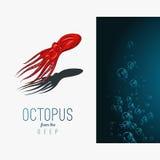 深深章鱼 导航在梯度背景的彩色插图与装饰元素 图库摄影