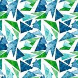 深深蓝色的水彩和绿色三角无缝的样式 库存照片