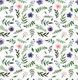 深深紫罗兰色的水彩和浅粉红色的花无缝的纹理 免版税库存图片