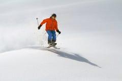 深粉末的,极端freeride滑雪者 免版税图库摄影