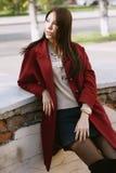 深紫红色外套的,街道样式,春天夏天趋向,黑暗的裙子,米黄毛线衣年轻美丽的时髦的妇女,私秘 免版税库存图片