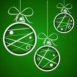 深绿加点的被乱写的圣诞节球 向量例证