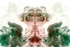 深绿和伯根地红色的对称样式在白色被隔绝的背景的以一个神秘的动物或鬼魂的形式 皇族释放例证
