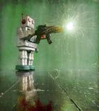 深绿用煤烟弄脏的机器人 免版税库存图片