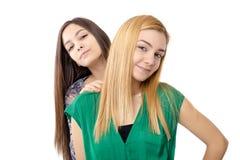 深色两个可爱的十几岁的女孩画象-白肤金发和 库存照片