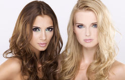 深色二个的女朋友-白肤金发和 免版税库存图片