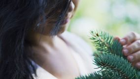 深色头发的妇女爱上自然轻轻地爱抚杉木分支,植物研究 股票视频