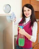 深色的与洗涤剂的妇女清洗的玻璃 免版税库存照片