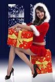 深色的克劳斯存在圣诞老人 免版税库存图片