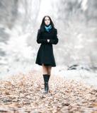 深色的公园亭亭玉立的走的妇女 免版税库存图片