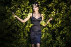 深色的典雅的夫人时尚照片  免版税库存图片