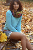 深色的女孩金黄叶子 库存照片