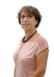 深色的成熟妇女画象戴眼镜的 免版税库存照片