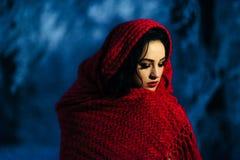 深色的新娘红色唇膏构成被包裹的围巾雪冬天体贴夜晚上画象 库存图片
