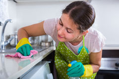 深色的清洁在厨房里 免版税库存图片