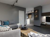 深色的现代公寓设计演播室与照明设备 向量例证