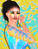 深色的秀丽和时尚构成图象 五颜六色的抽象背景, 3d回报与拉丁味道的数字式艺术 库存图片