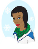 深色皮肤的冬天女孩 免版税库存图片