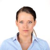 深色头发的纵向妇女 免版税图库摄影