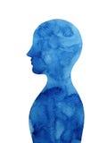 深蓝人头认为头脑,抽象水彩绘画 免版税库存图片