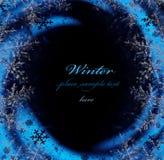 深蓝冬天装饰框架 库存照片
