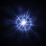 深蓝发光的闪烁背景影响 不可思议的焕发闪耀的纹理 星爆炸激发光线影响 库存图片