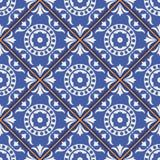 从深蓝和白色摩洛哥,葡萄牙瓦片, Azulejo,装饰品的华美的无缝的样式 免版税图库摄影