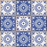 从深蓝和白色摩洛哥,葡萄牙瓦片, Azulejo,装饰品的华美的无缝的样式 免版税库存图片