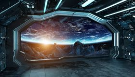 深蓝太空飞船未来派内部有在空间和行星3d翻译的窗口视图 向量例证